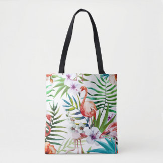 Flamboyant Flamingo Tropical nature garden pattern Tote Bag