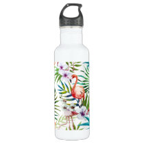 Flamboyant Flamingo Tropical nature garden pattern Water Bottle