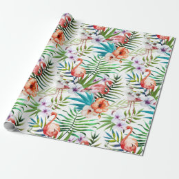 Flamboyant Flamingo Tropical nature garden pattern Wrapping Paper