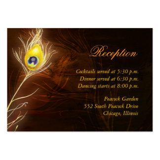 Flamboyant Peacock Feather Reception Enclosure Business Card