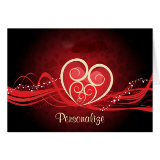 Flamboyant Red Heart Card