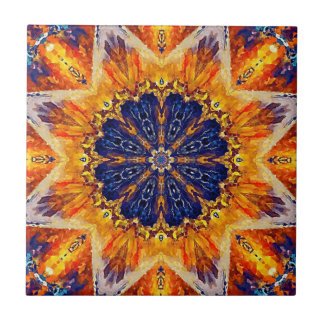 Flame and Navy Decorative Tile