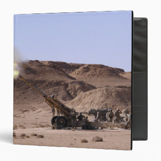 Flame and smoke emerge from the muzzle vinyl binders