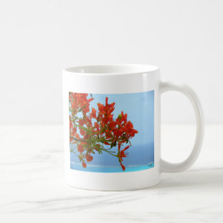 Flame Blossoms On An Ocean Of Blue Classic White Coffee Mug