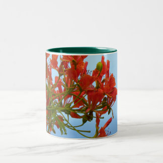Flame Blossoms On An Ocean Of Blue Two-Tone Coffee Mug