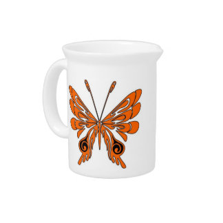 Flame Butterfly Tattoo Drink Pitcher
