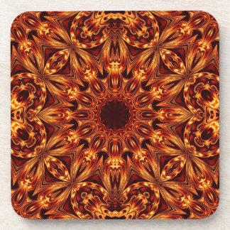 Flame Colored Kaleidoscope Cork Coaster