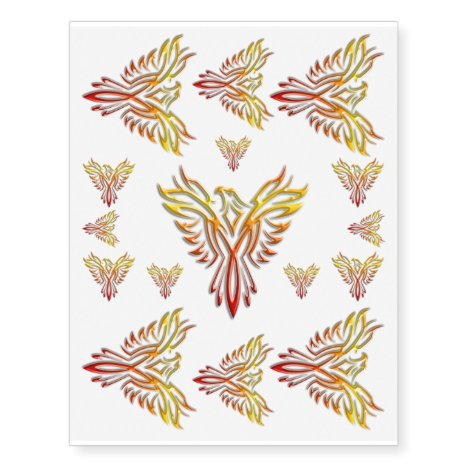 Flame-colored Phoenix Rising from Ashes Temporary Tattoos