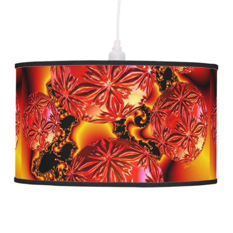 Flame Delights, Abstract Crimson Red Fire Fractal Pendant Lamp
