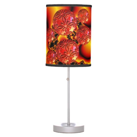 Flame Delights, Abstract Crimson Red Fire Fractal Table Lamp