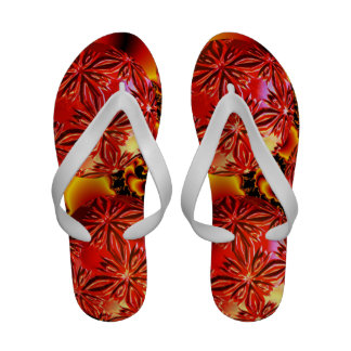 Flame Delights, Abstract Crimson Red Fire Sandals