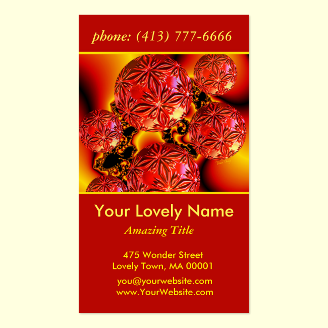 Flame Delights, Abstract Red Orange Fire Double-Sided Standard Business Cards (Pack Of 100)