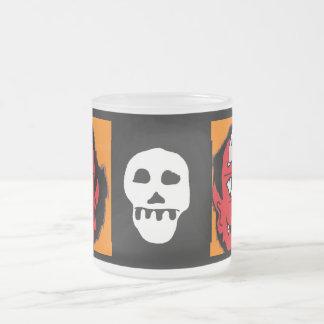 flame devil 10 oz frosted glass coffee mug