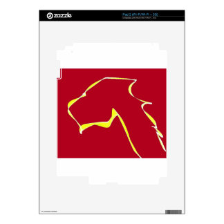 Flame dog art red iPad 2 decals