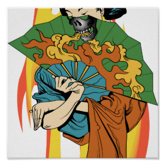Flame Fire Skull Geisha Print