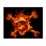 Flame fire skull postcard