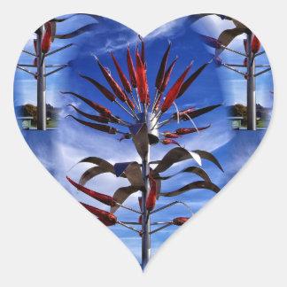 Flame glass heart sticker