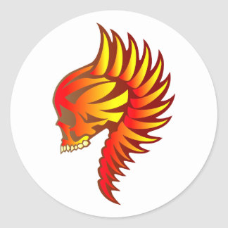 Flame head of flames skull classic round sticker