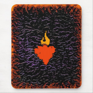 Flame Heart Mouse Pad