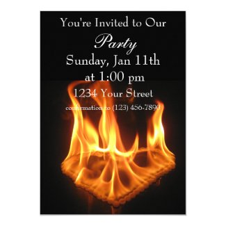 Flame Heart party fire invite