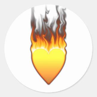 Flame Heart shape Design II Round Sticker