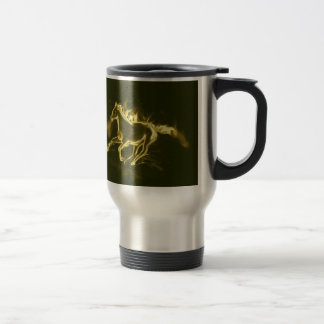 flame horse, golden coffee mugs