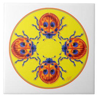 Flame Ladybug Mandala Tile