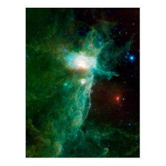 Flame Nebula NASA Space Green Postcard