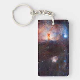 Flame Nebula Space Astronomy Double-Sided Rectangular Acrylic Keychain