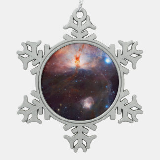 Flame Nebula Space Astronomy Snowflake Pewter Christmas Ornament