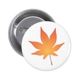 Flame Orange Leaf Pinback Button