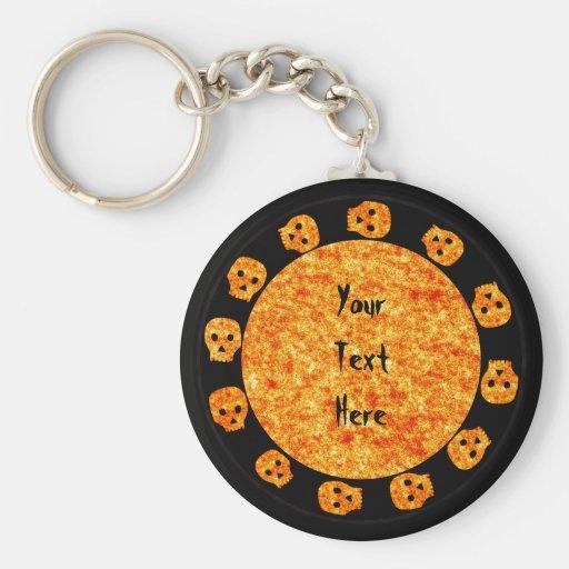 Flame Orange Skull Keychain