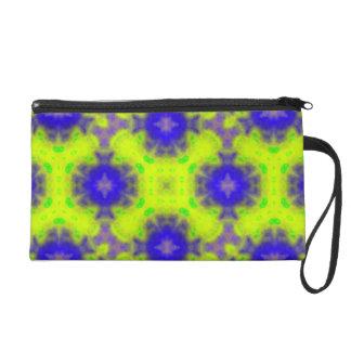 flame pattern blue yellow wristlet purse