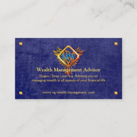 Flame Phoenix, blue leather-look, Wealth Advisor Business Card