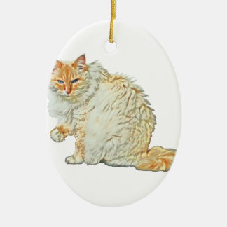 Flame point siamese cat 2 ceramic ornament