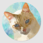 Flame Point Siamese Cat Greeting Cards Classic Round Sticker