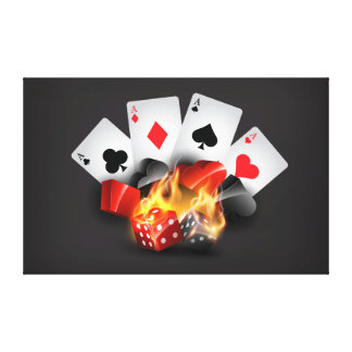 Flame Poker Casino Black Canvas Print