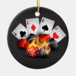 Flame Poker Casino Black Double-Sided Ceramic Round Christmas Ornament