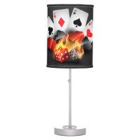 Flame Poker Casino Black Table Lamp