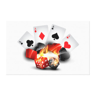 Flame Poker Casino White Canvas Print