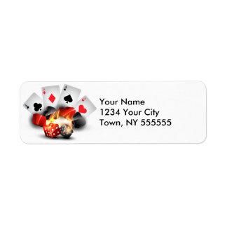 Flame Poker Casino White Custom Return Address Label
