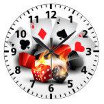 Flame Poker Casino White Large Clock