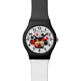 Flame Poker Casino White Wrist Watches