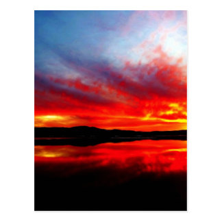Flame red sun going down post card