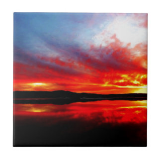 Flame red sun going down ceramic tile