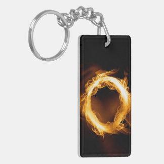 Flame Ring Double-Sided Rectangular Acrylic Keychain