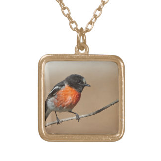 Flame Robin, Petroica Phoenicea Gold Plated Necklace