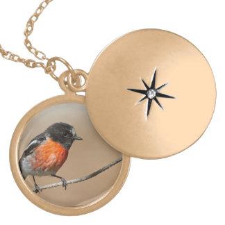 Flame Robin, Petroica Phoenicea Locket Necklace