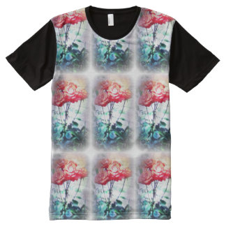 Flame Roses Pattern All-Over-Print T-Shirt