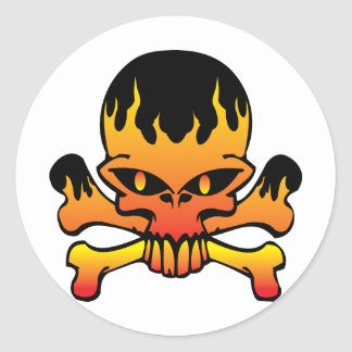 Flame skull classic round sticker